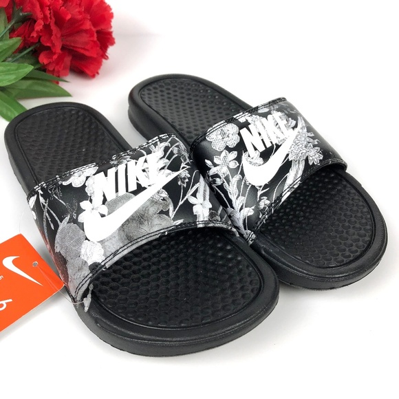 0c64bb95f Nike Shoes | New Benassi Jdi Slides Sandals Black Floral | Poshmark